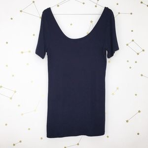 Anthro • Saturday Sunday Navy Blue Iris Ribbed Tee
